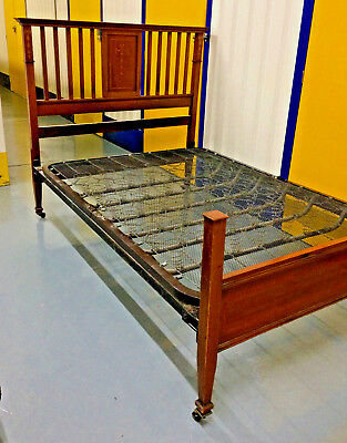 Antique Early Edwardian Mahogany Inlaid Bed Bedstead Stunning Adams Style Detail
