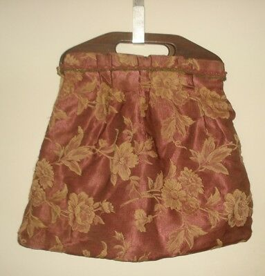 Antique KNITTING TOTE Pouch Bag Sewing Crochet Embroidery Brocade & Wood Handles