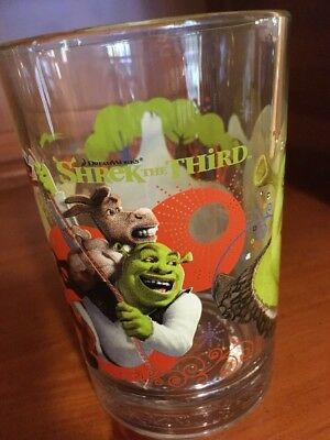 DreamWorks/McDonalds 14 oz.Glass-Shrek the Third-Donkey/Puss in Boots/Gingy-New