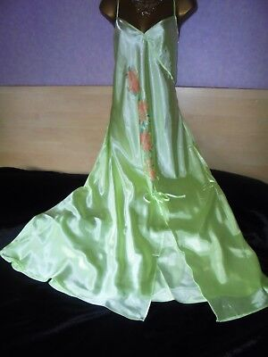 Stunning silky satin nightie dress slip negligee nightdress  chest 46 lime tall