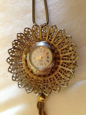 Vintage Two- Sided Sellita Gold Tone Two-Sided Watch & Victorian Painting Brass