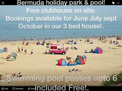 3bed Holiday Hemsby nr Yarmouth,Norfolk upto 9ppl + cot 6 Bermuda passes July