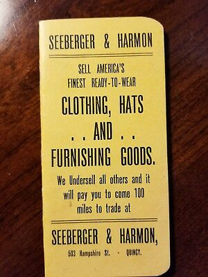 Seeberger& Harmon, Quincy, IL, Memo book