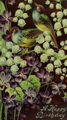 C.1910 Fab Lace Border Lily Of The Valley Bird Postcard P95