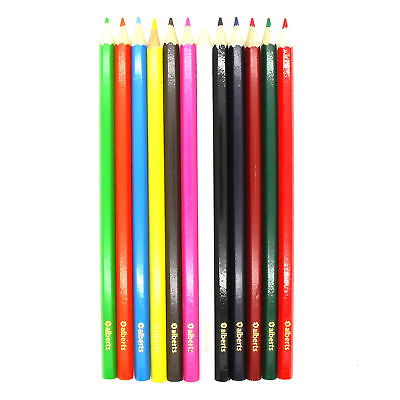 12 x Alberts Assorted Colours Colouring In Pencils Crayons Arts & Crafts
