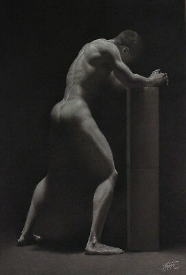 "nude male pencil figure drawing 36""x24"" by Rita Foster"