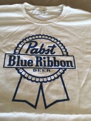 New Men's XL Pabst Blue Ribbon Beer PBR Stylish White T-Shirt Blue Logo X Large