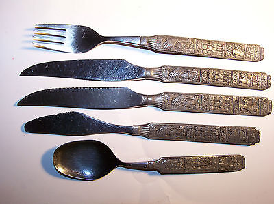 Vintage Heilag Olav Og Hansmenn Pewter Serving Fork Spoon Knives Se/ Five