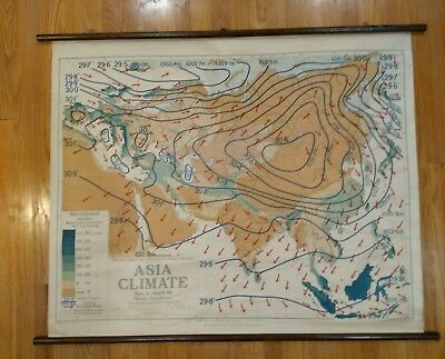 Climate Zone Map Of Asia.Vintage Roll Down Map Wall Chart World Climate Zones Beautiful