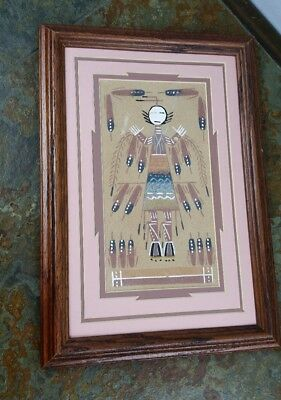 Vintage Authentic Signed Native American Indian Navajo Sand painting Framed Art