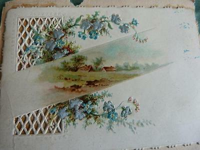 Image Chromo Cutting embossed Landscape, flowers re-embellished silk 19th