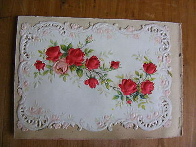 Image Chromo Cutting embossed dressed silk 19th Roses flowers