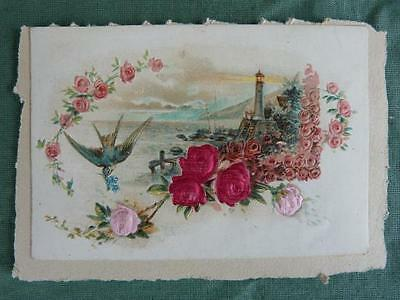 Image Chromo Cutting embossed Birds Lighthouse Flowers re-embellished silk 19th