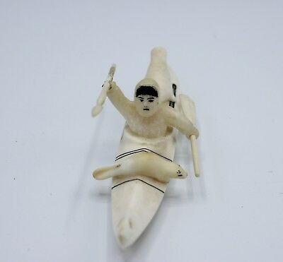 "Vintage Native Alaskan Yupik Eskimo King Island Kayak, hunter, Seal ""Leo Kennuk"""