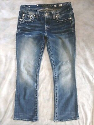 Miss Me Easy Boot Mid Rise Jeans Sz 29 Bling Studs Embellished Distressed Dark
