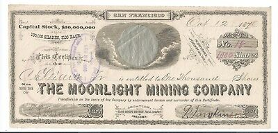 Globe Mining District Pinal County AZ: Moonlight Mining stock certificate 1878