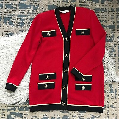 St John Collection Marie Gray Santana Knit Tunic Jacket Red Black Gold Size 2