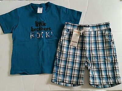 Gymboree outlet 2t Little Brothers Rock Blue plaid shorts outfit
