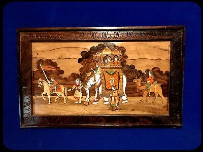 Large Antique Wooden Carved India Wall Art Vintage Mughal Picture 30""