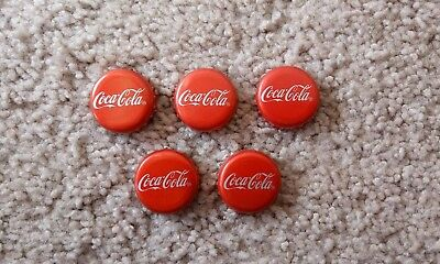 Coca-Cola bottle caps, lot of 5, metal with plastic inner seal, great for art