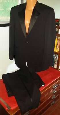 NEW: Classic One-Button Men's Black Tuxedo: Jacket 40R, Pants 38 Waist by 30 Ins