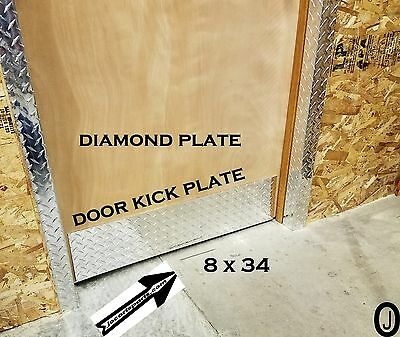 "Door Kick Plate Highly Polished 3003 grade Aluminum Diamond Plate 8"" x 34"""