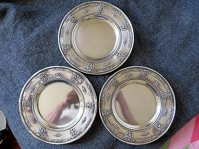 Set three (3) Wallace Sterling Bread Plates Rose Point Pattern Special design