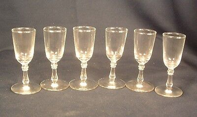 Lot of Six Vintage Crystal Clear Glass Cordials