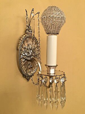 Vintage Lighting incredible pair 1920s silver crystal sconces