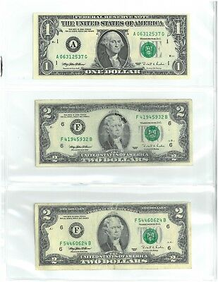 Lot of 6 - 1995 US Dollar Bills $1, (2) 2, 5, 10, 20 - Awesome Birthday Gift!