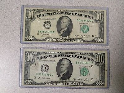 AWESOME Lot of 2 - 1950 $10 USD Dollar Bills - E & B Notes - 1950A & 1950D
