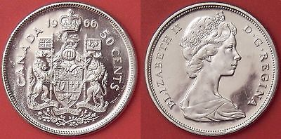 Brilliant Uncirculated 1966 Canada Silver 50 Cents From Mint's Roll
