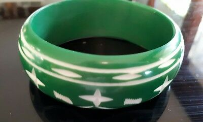 Deco Inspired Style ! Gorgeous Minty Green Etched Resin Bangle