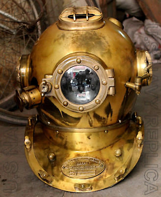 "18"" Vintage Diver Helmet U.S Navy Mark V Solid Steel Heavy Diving Divers Helmet"