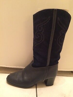 Blue Suede High Heeled Boots Vintage Design Made Finland Wool Lined Size 8-8.5