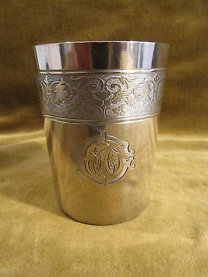 1900 french 800 silver baby cup winged angels devils