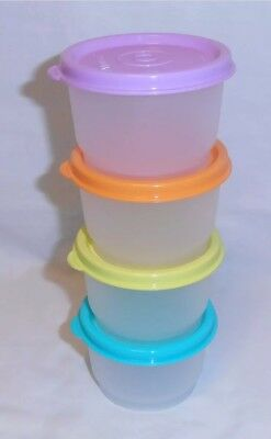 Tupperware Snack Cup Set of Four 125ml Purple Aqua Orange Lime Green Cups