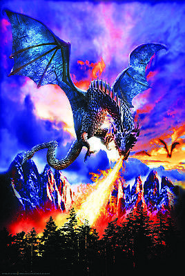 DRAGON FIRE - FANTASY ART POSTER 24x36 - 3179