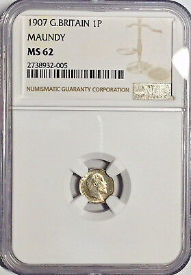 1907 MS62 Great Britain Maundy Silver Pence NGC 453 Registry Pts Penny 1P Edward