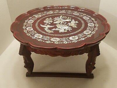Vintage Korean Wooden Tea Table red mother of Pearl inlay