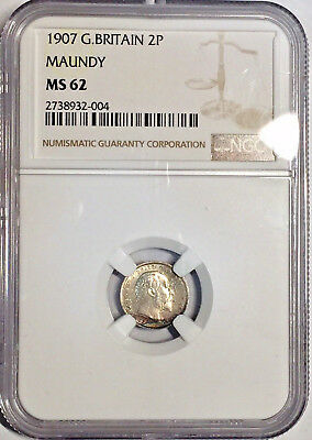 1907 MS62 Great Britain Maundy Silver 2 Pence NGC 453 Registry Pts 2P Edward