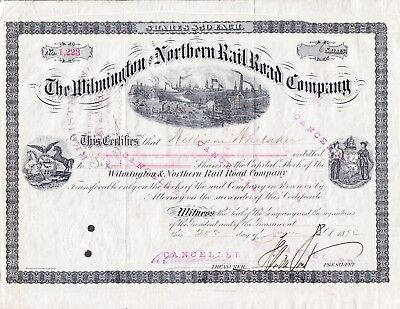 Stock Certificate Willmington & Northern RR Henry DuPont Metal of Honor 6/25/92