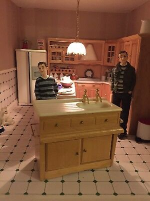 1 12th scale  WOOD PINE KITCHEN sink country sty   DOLLS HOUSE