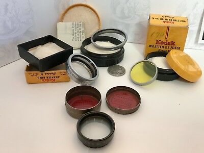 Vintage Tin Lot Eastman Kodak - Filter Ring Canister Attachment Advertising Can