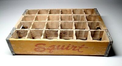 Vintage Squirt Soda Wood Bottle Crate Carrier Box Hires Taos New Mexico