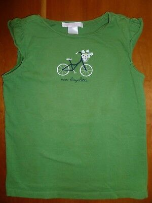 "Janie and Jack Green ""mon bicyclette"" Bicycle Cap-sleeve T-shirt, Toddler size 5"