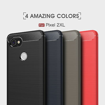 Shockproof Hybrid Armor Carbon Fiber Brushed Cover Case For Google Pixel / 2/ XL