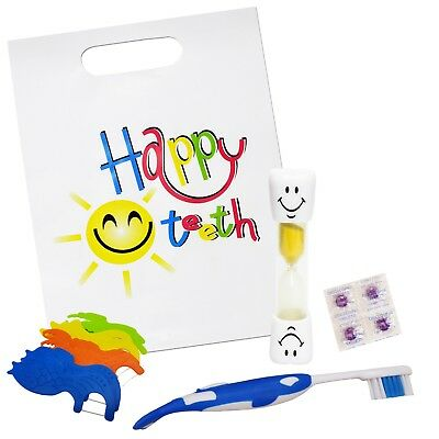 Happy Teeth Gift Bag ~ Childrens Toothbrush, Timer, Disclosing Tablets & Floss
