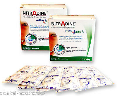 2 x Nitradine Ortho Junior ~ 40 Cleaning Tablets 20wk Supply ~ Retainer Cleaner