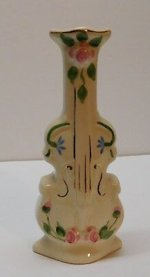 Wall Pocket Cello Violin Instrument Vase Footed Hand Painted Norton Cleveland OH